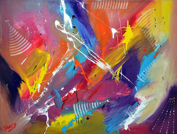 Colourful abstract painting inspired by the swirls of Flamenco dancers