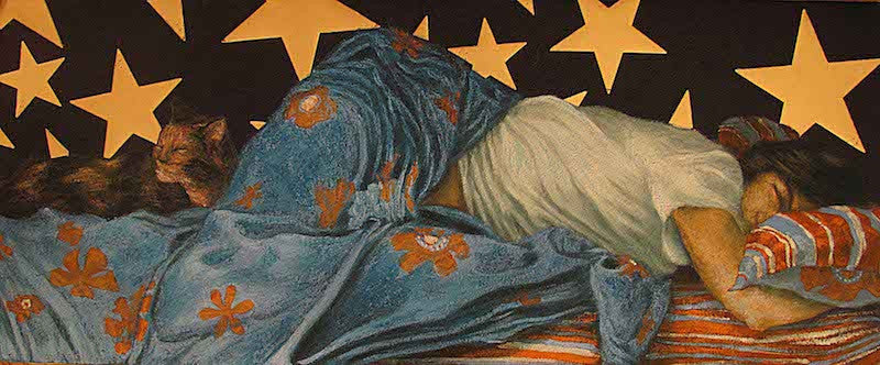 Oil painting of a woman sleeping under the stars at night