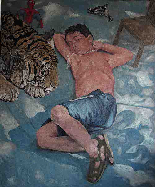 Surreal painting of a boy sleeping in the garden with a tiger