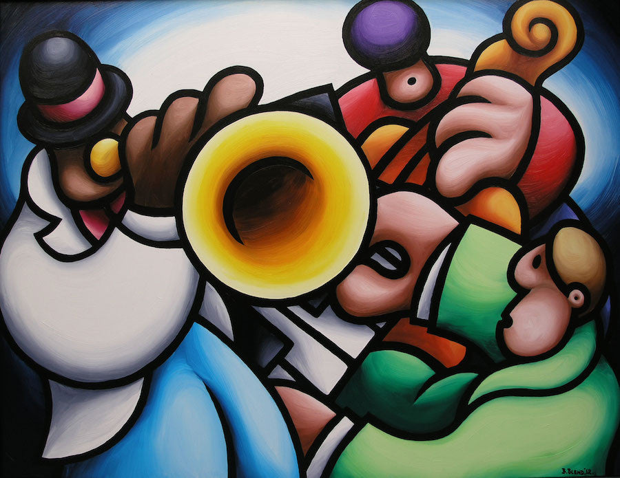 colourful oil painting of jazz trio musicians