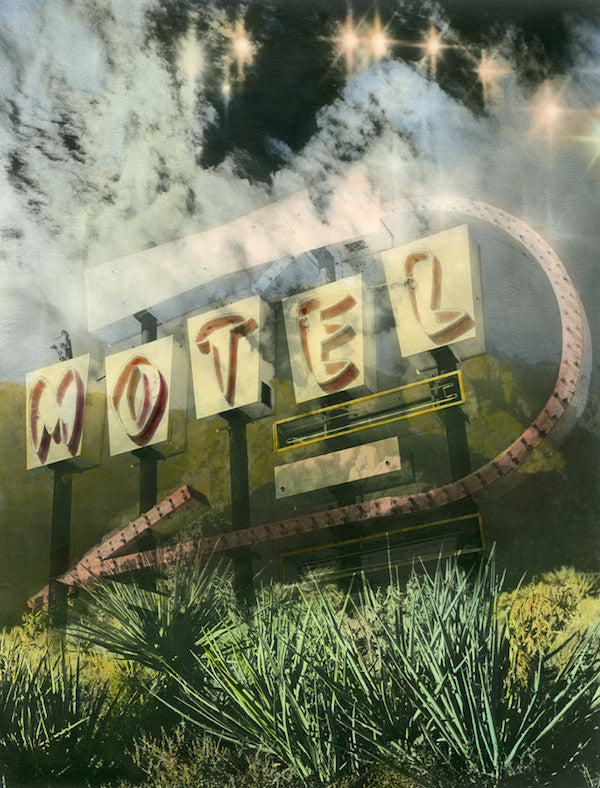 Photo montage of a derelict motel neon sign in America