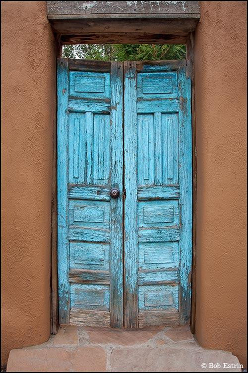 Photograph of a very bright blue door