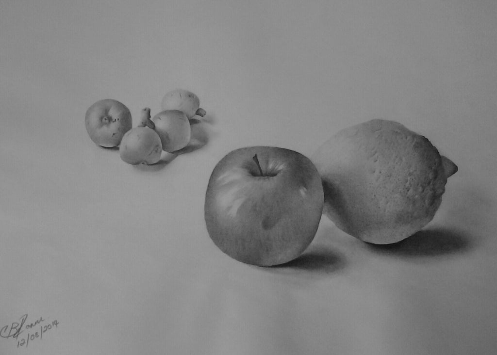 Still life study of a Loquat Bunch with apple and Lemon in pencil