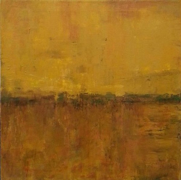 Abstract painting of a scenic landscape during a golden summer sunset