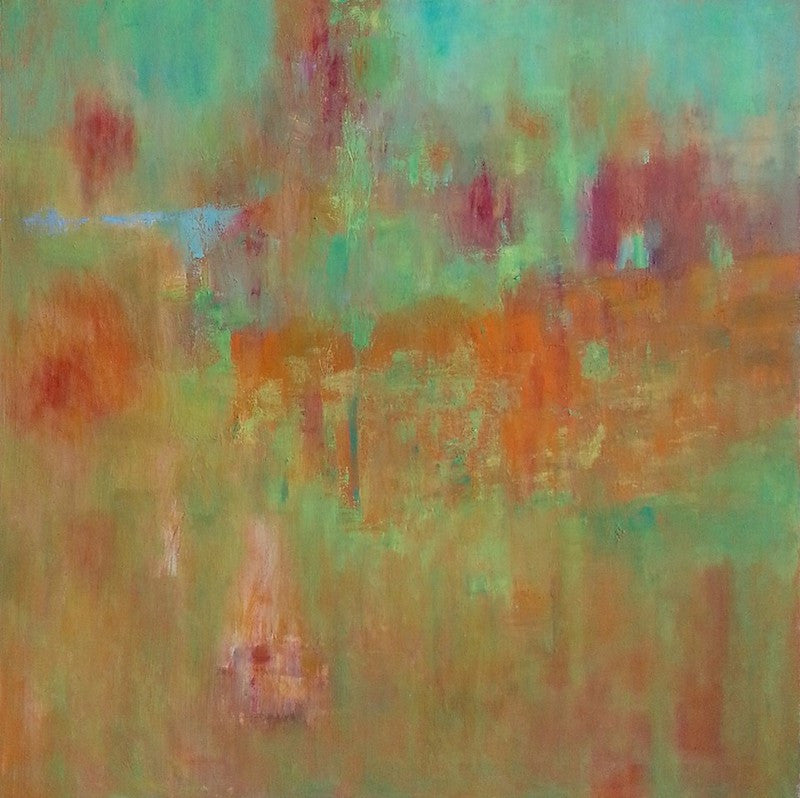 Colourful oil painting of a soft and dreamy abstract in green and brown