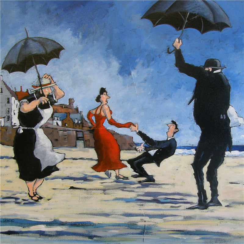 Painting of when the butler came to Crail dancing with the red dress