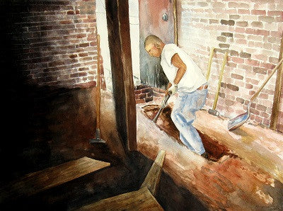 Painting of a man using a spade while working on a building site
