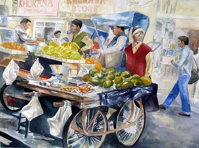 Original realist watercolour of a mango seller in a busy market in Bali