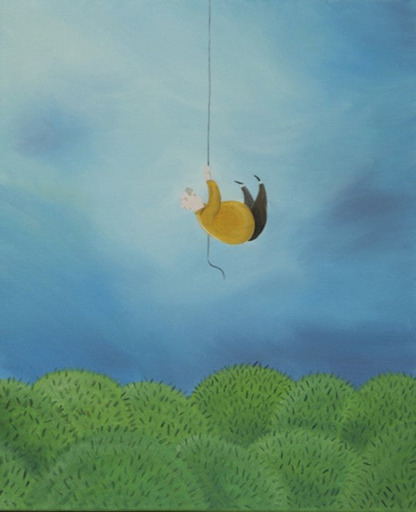 Original oil painting of a man hanging onto a rope for dear life