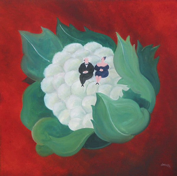 Surreal painting of a couple sitting on a large cauliflower