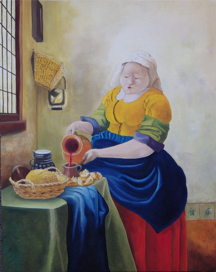 Painting of a maid pouring wine with food on the table