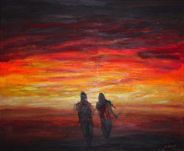 Oil painting of two young warriors walking towards the sunset in Africa