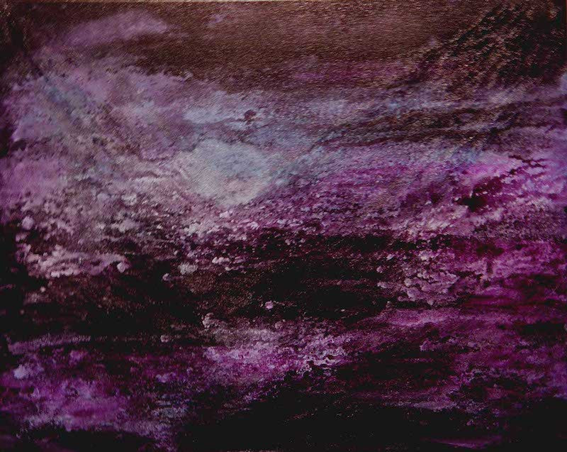 Abstract painting in purple of the oceans moving currents