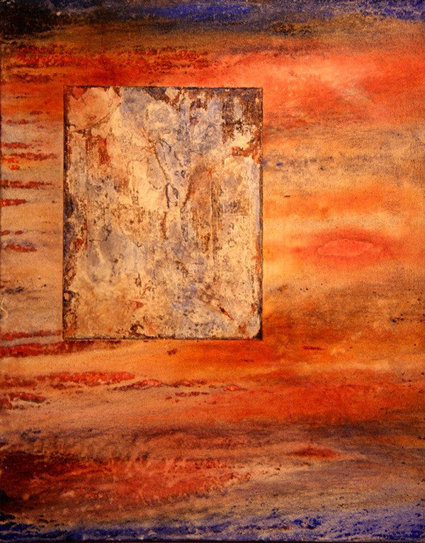Red and orange original abstract painting on canvas