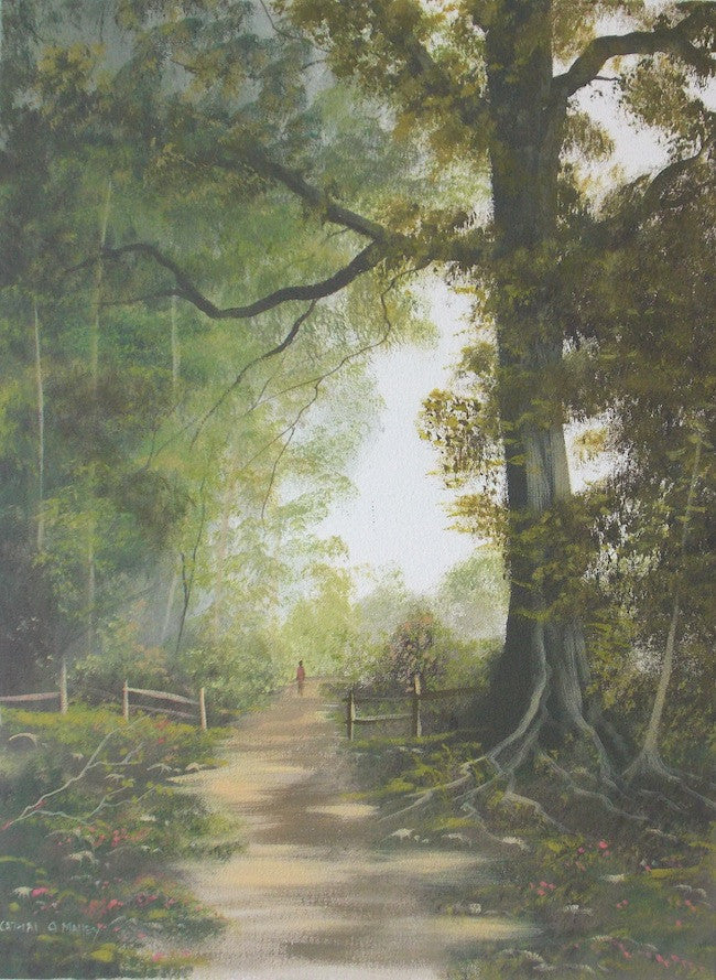Beautiful original painting of a path winding through a deep forest