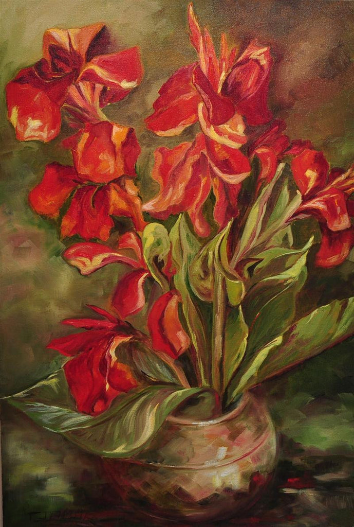 Still life painting of a bunch of red flowers