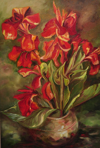 A vase of canna flowers