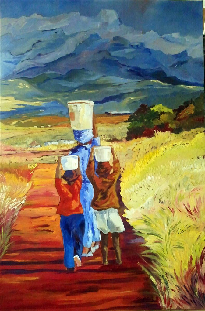 Painting of an African woman and her two children carrying water in the strong sun