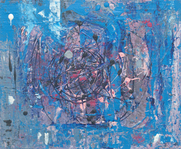 abstract contemporary painting in colours of blue and grey