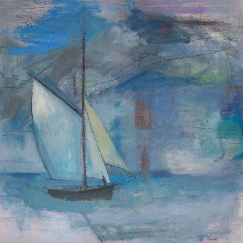 Colourful original oil painting of a Sailing boat in the mist