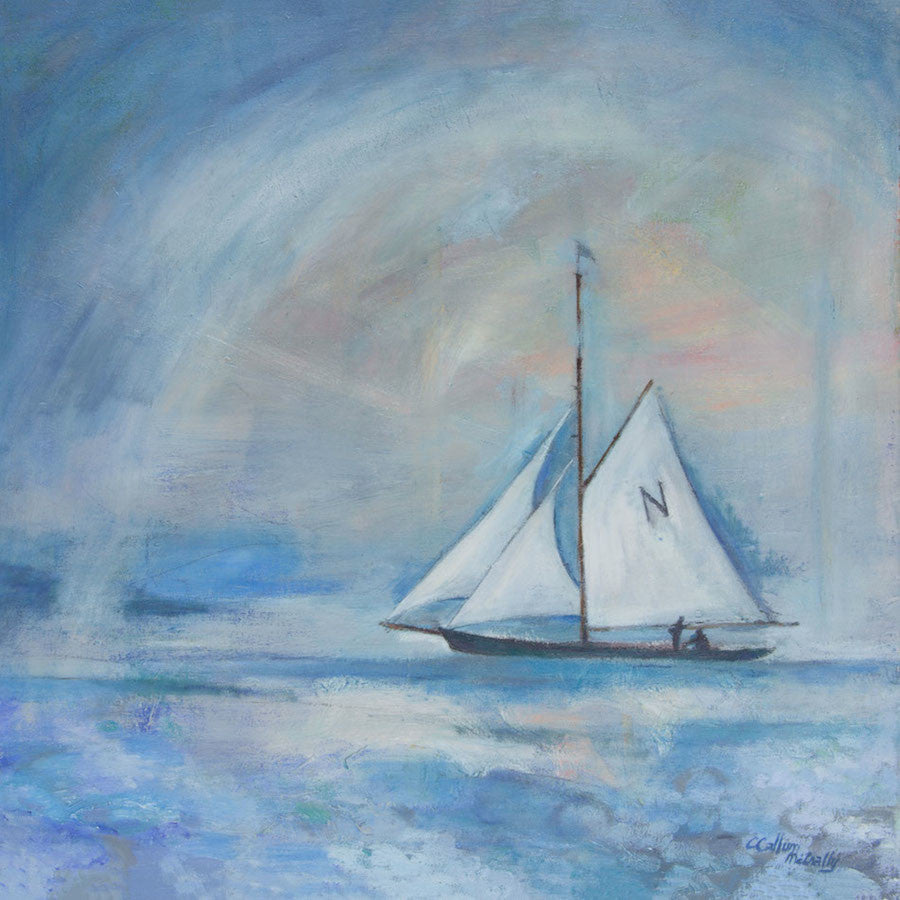 Beautiful oil painting of a sailing boat in the mist
