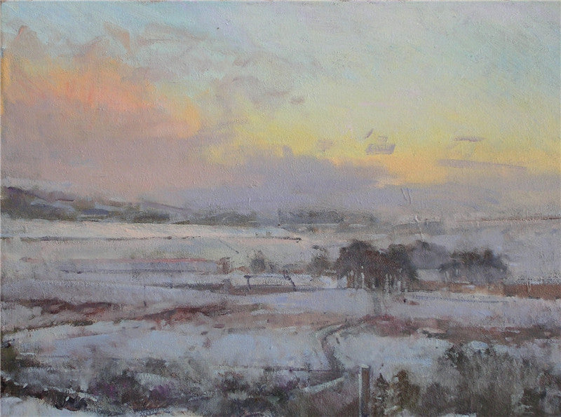 Original oil painting of Alston Moor in the winter with snow on the ground