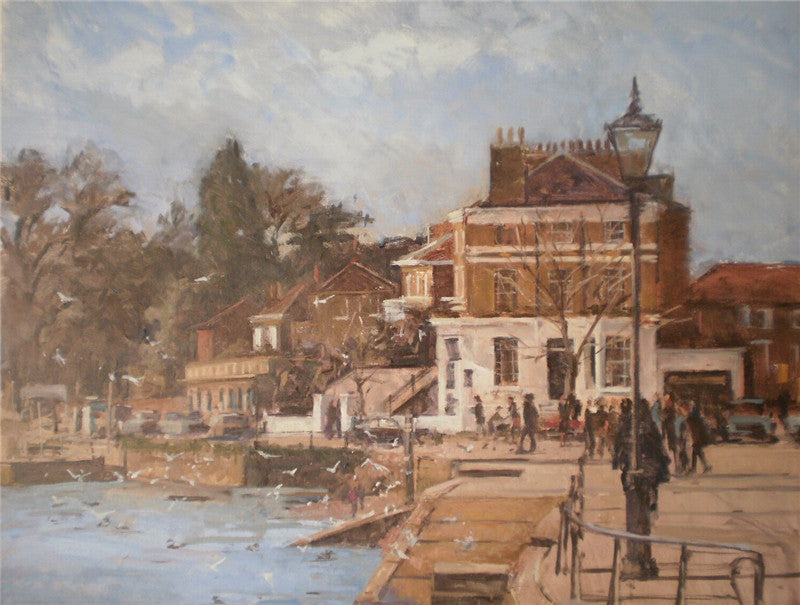 Original oil painting of winter on the river Thames near Richmond
