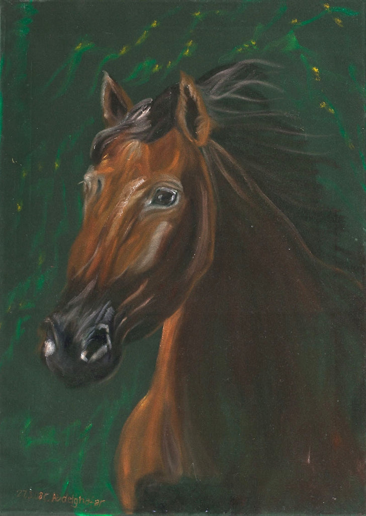 Oil painting of a stunning horse painted onto green velvet