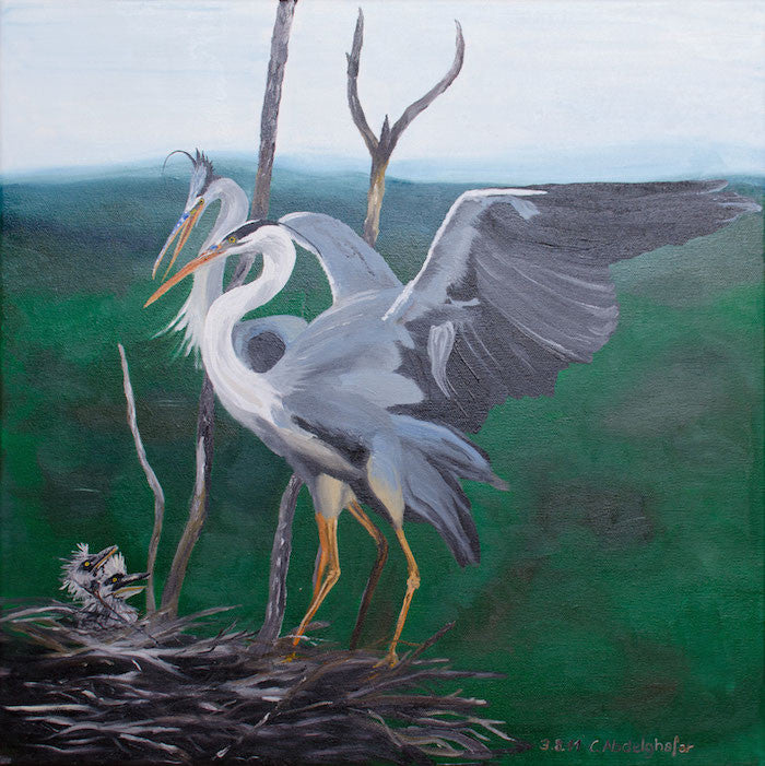 Oil painting of grey herons in a nest with their young