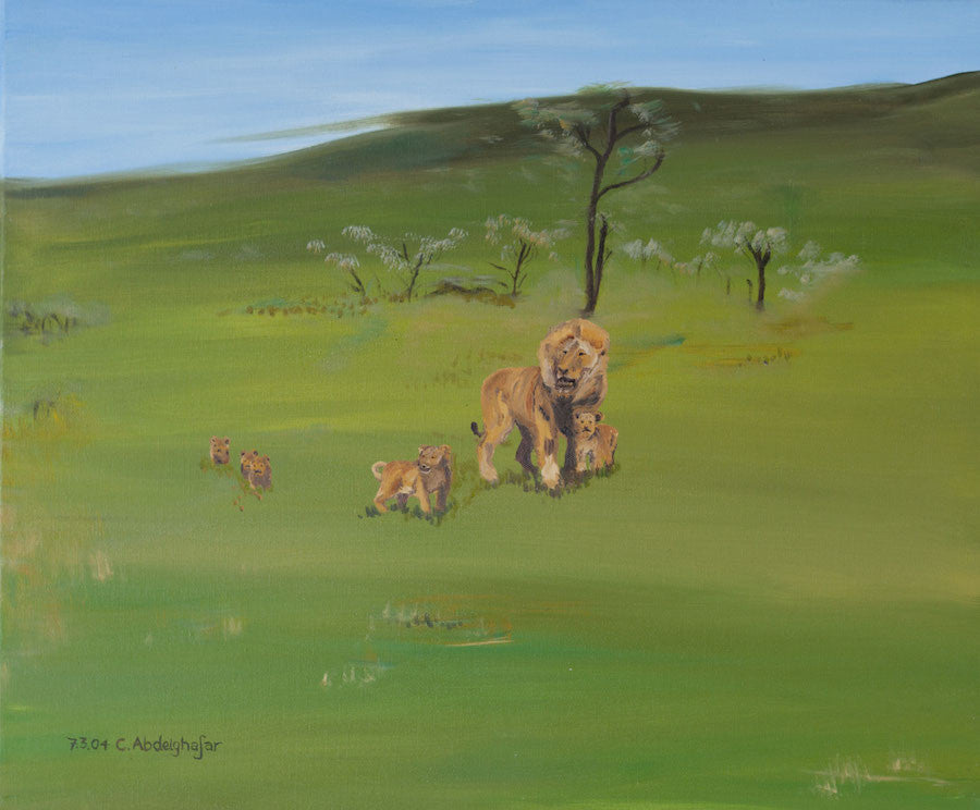 Original oil painting of a pride of lions walking through the African Savannah