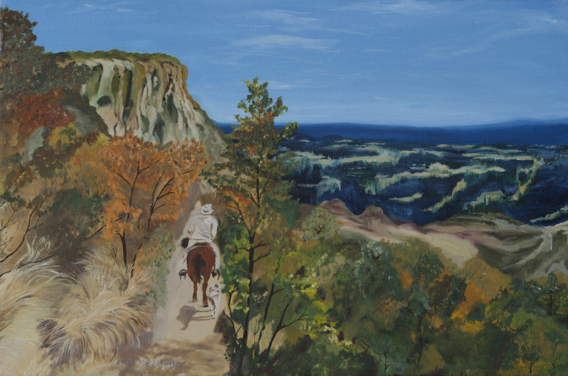 Original oil painting of a Mexican landscape with a lonely rider on his horse