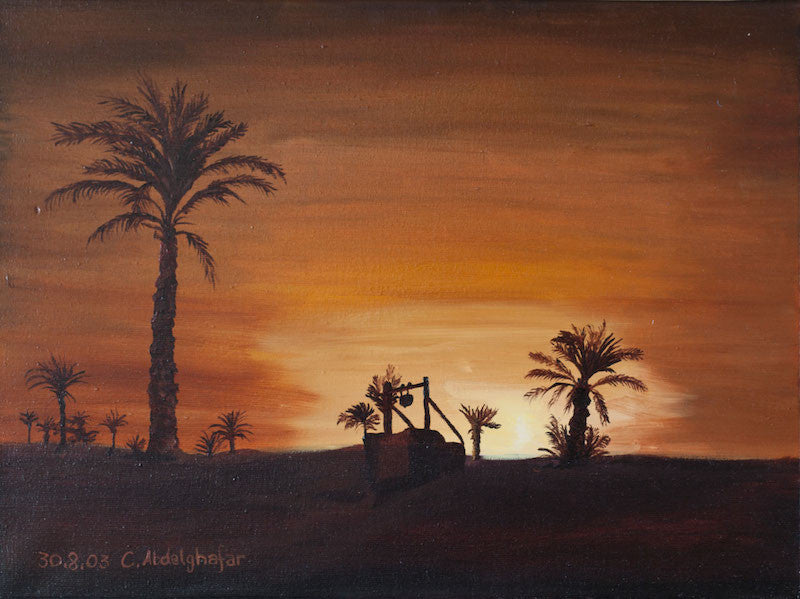 Original oil painting of an oasis in the desert as the sun sets