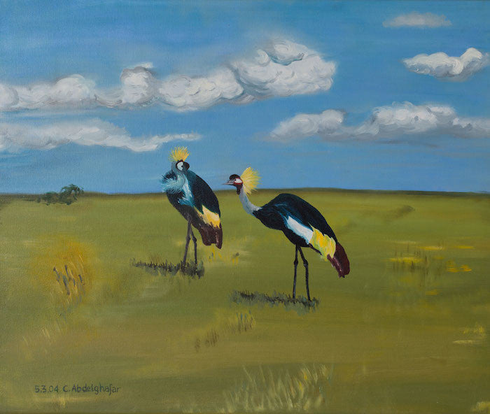 Oil painting of 2 Royal cranes feeding on the landscape