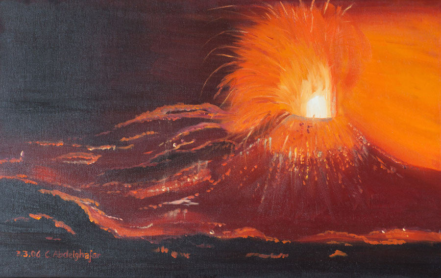 Original oil painting of a volcano erupting at night