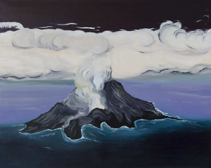 Oil painting of an erupting volcano and the clouds of smoke