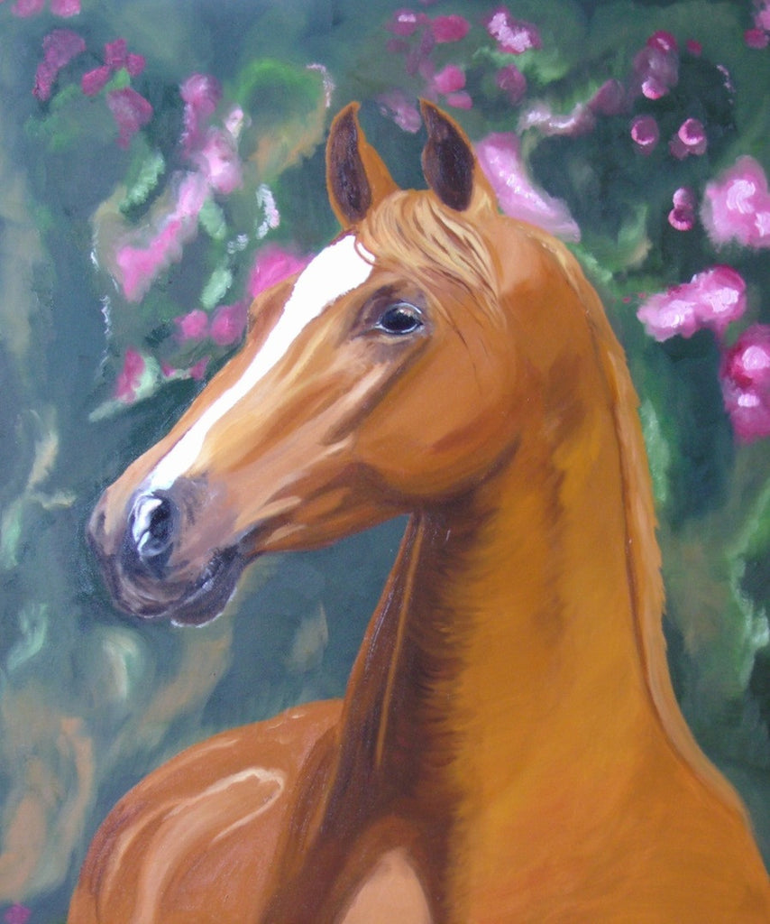 Beautiful original oil painting of a white and tan horse in front of pink flowers