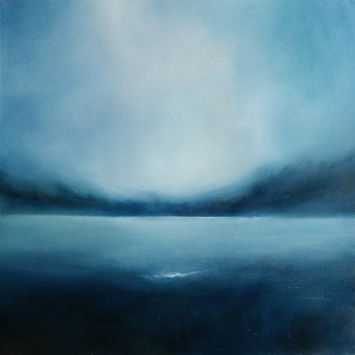 Dark mysteries oil painting looking across a misty lake