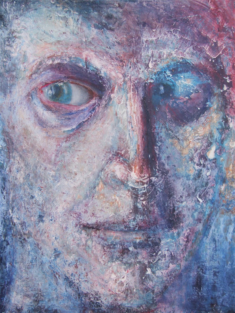 Original oil painting showing the details of a man's face