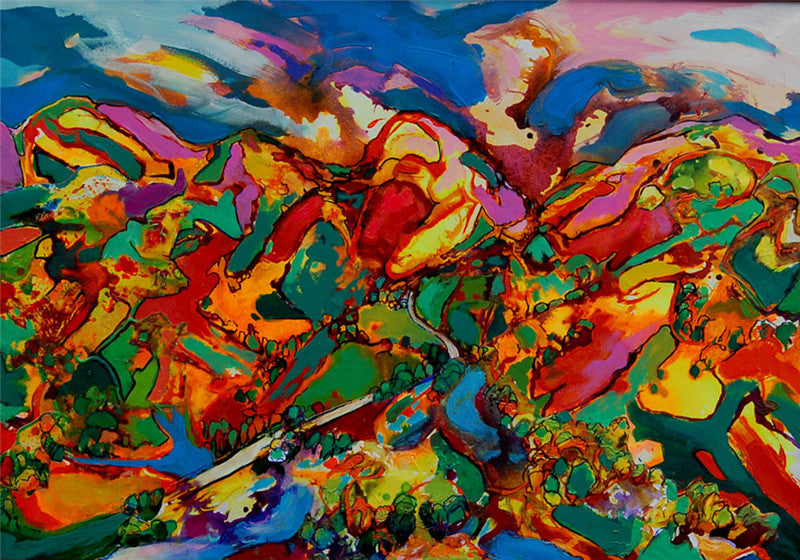 Abstract painting of the many colours of the countryside in beautiful Wales