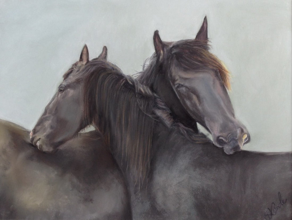Original painting of two black horses grooming each other