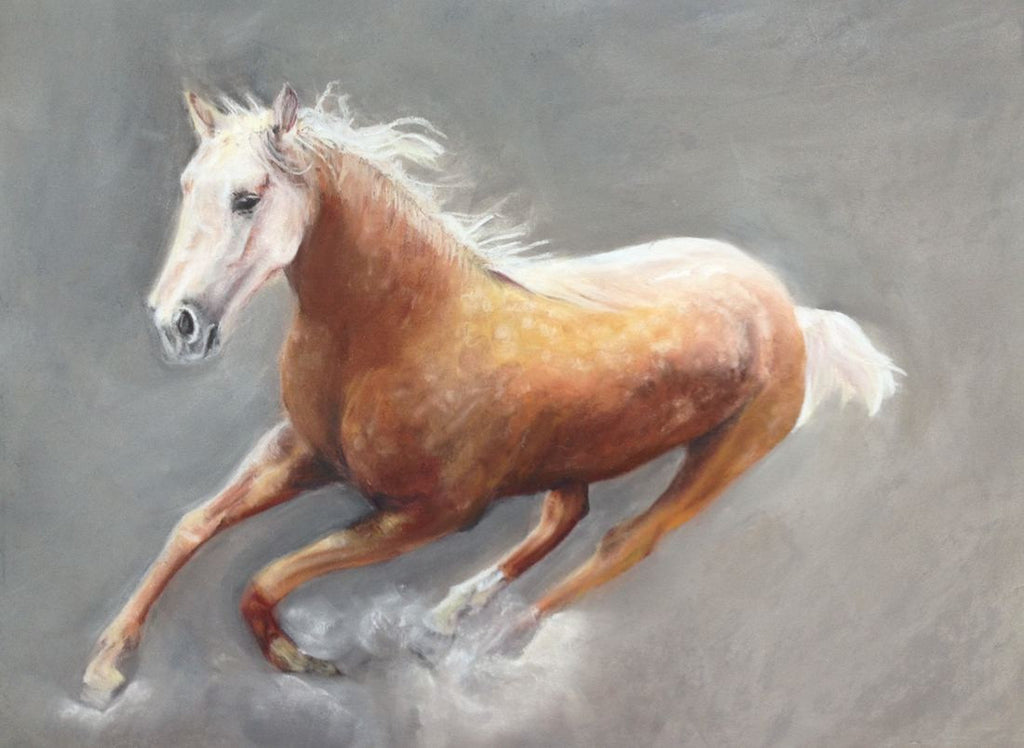Original pastel painting of a kicking horse