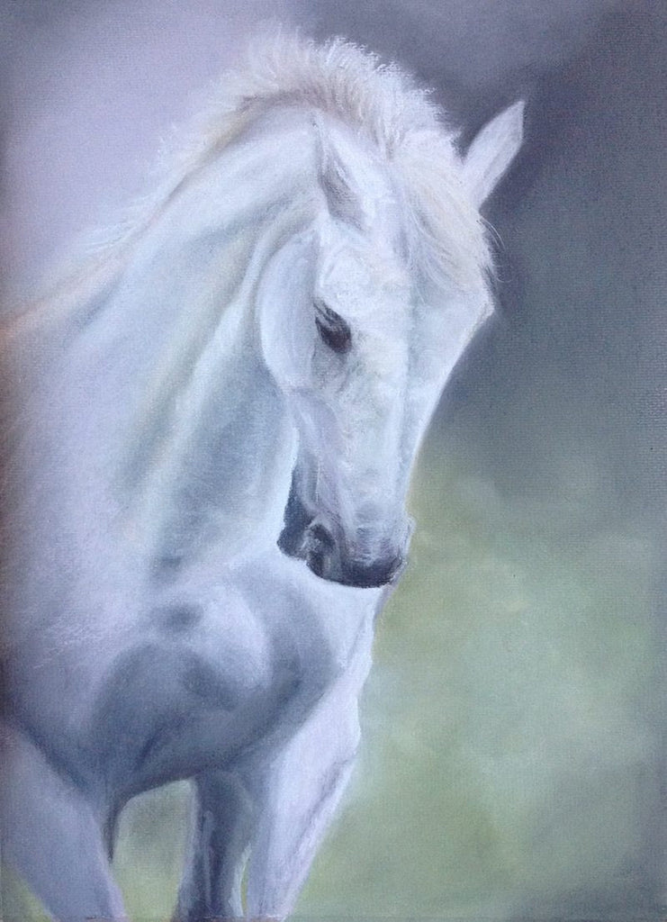 Original pastel painting of a mystical white horse with lilac and greens