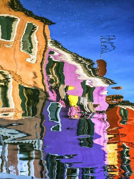 Original painting of a reflection of colourful houses in the water