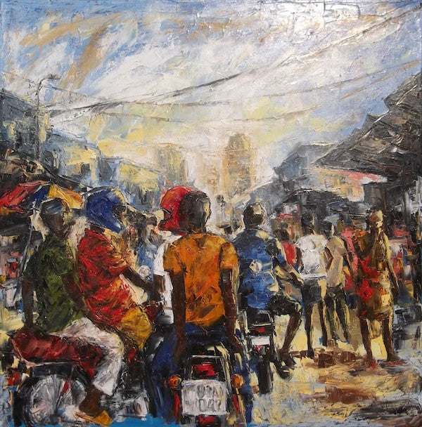 Original painting showing a very busy street in Africa full of guys on motorbikes