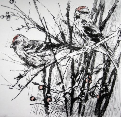 Two Redpolls Reproving