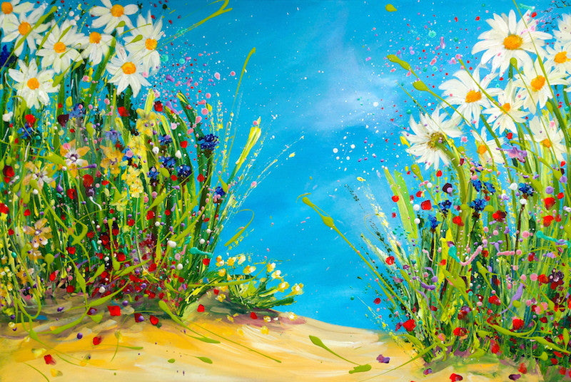 Blooming Dance with Daisies and Cornflowers