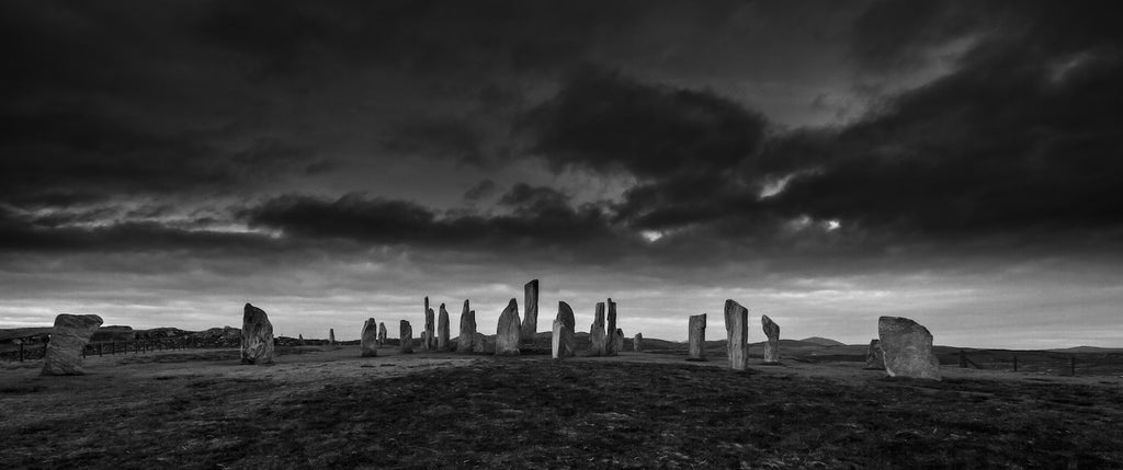 Black and white panoramic photo of the Callanish Standing Stones