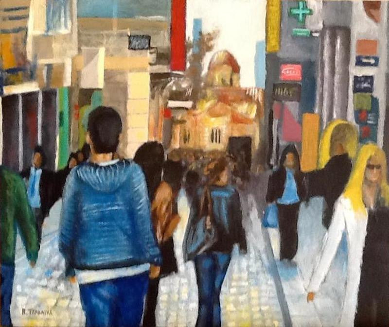 Acrylic painting of Ermou Street the most famous street in Athens