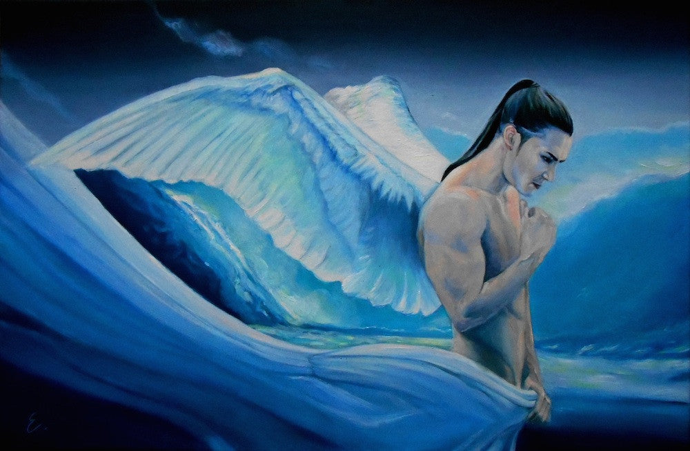 Surreal oil painting of a naked male angel contemplating