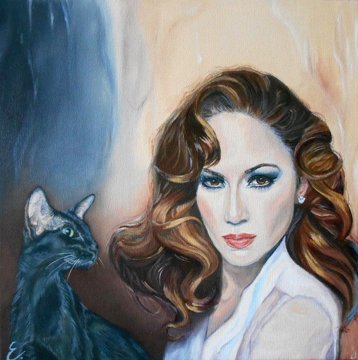 Original oil painting of a beautiful woman holding her black cat